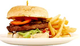 Unhealthy fat burger and French fries.