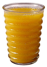 Drinking unsweetened juice is an essential part of the liver cleanse diet: A glass of orange juice.