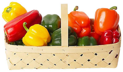 Peppers are a great food source for your healthy liver diet: Basket with red, orange, yellow and green peppers.