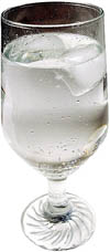 Drink lots of water during your liver cleanse. Picture of a refreshing glass of water.