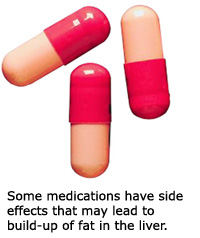 Side effects from some types of medications may lead to storing of fat in the liver.